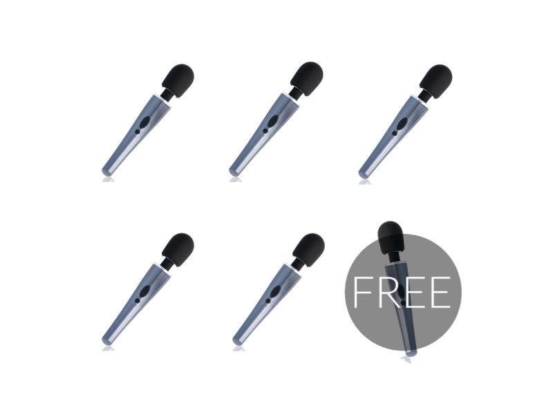 BLACK AND SILVER DEXTER MASSAGE WAND 5+1 GRATIS
