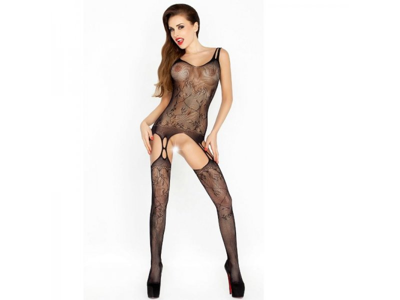 PASSION WOMAN BS015 BODYSTOCKING NEGRO TALLA UNICA
