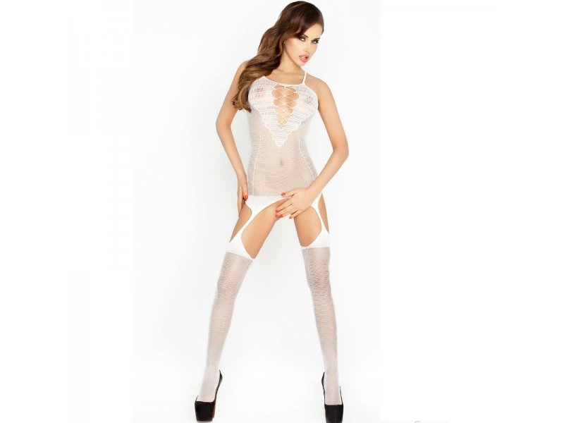 PASSION WOMAN BS024 BODYSTOCKING BLANCO TALLA UNICA