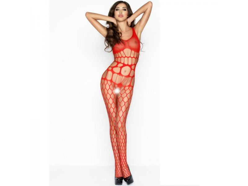 PASSION WOMAN BS032 BODYSTOCKING ROJO TALLA UNICA